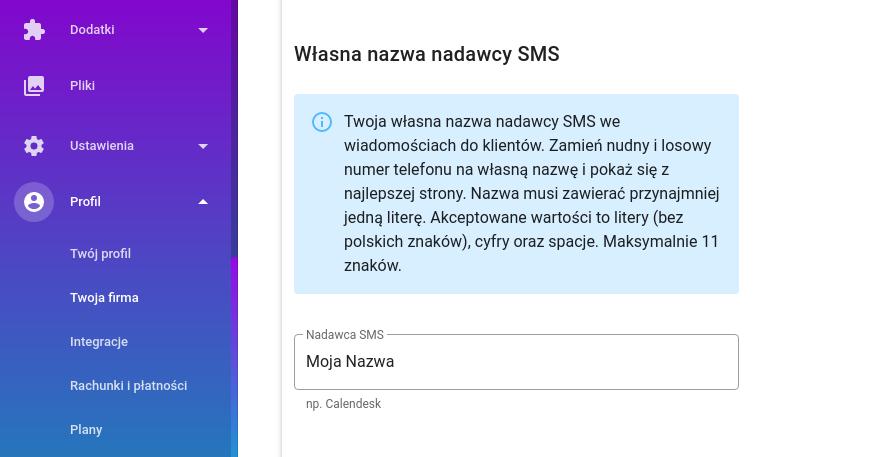 Własna nazwa nadawcy SMS - ustawienia